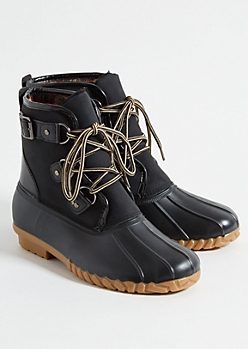 Black Sherpa Flannel Duck Boots