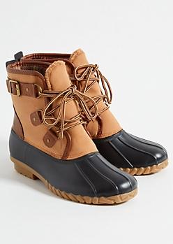 Cognac Sherpa Flannel Duck Boots