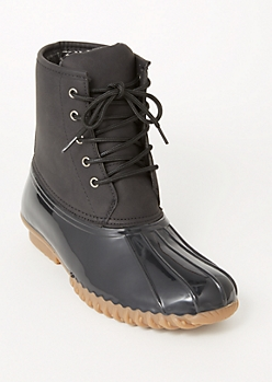 Black Flannel Lined Duck Boots