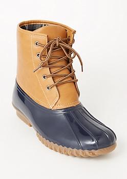 Cognac Flannel Lined Duck Boots
