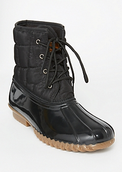 Black Quilted Lace Up Duck Boots