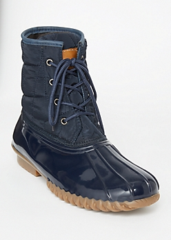 Navy Quilted Lace Up Duck Boots