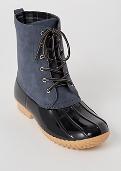 Blue Flannel Lined Duck Boots