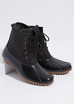 Black Faux Leather Plaid Print Interior Duck Boots