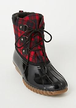 Red Plaid Print Flannel Duck Boots
