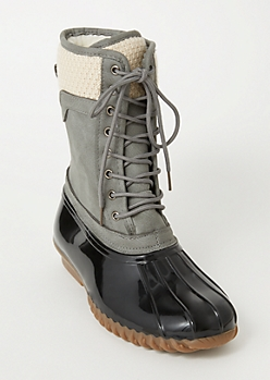 Gray Knit Lined Duck Boots