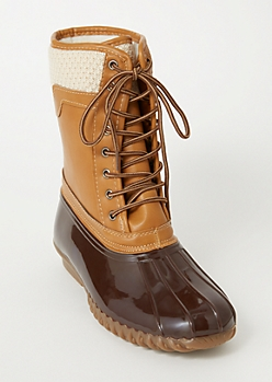 Cognac Knit Lined Duck Boots