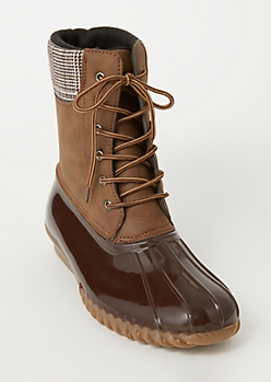 Brown Plaid Print Ankle Duck Boots