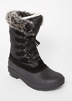 Black Faux Fur Fleece Winter Boots