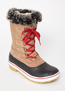 Cognac Faux Fur Fleece Winter Boots