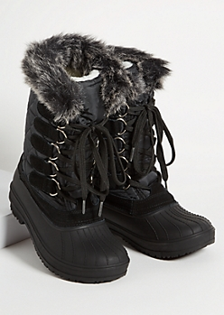 Black Faux Fur Trim Tall Duck Boots
