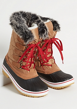 Cognac Faux Fur Trim Tall Duck Boots