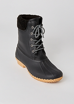 Black Sherpa Trim Duck Boots