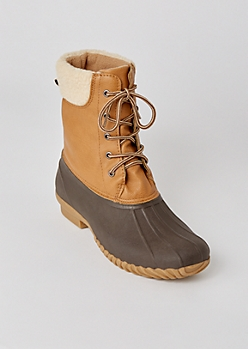 Cognac Colorblock Sherpa Trim Duck Boots