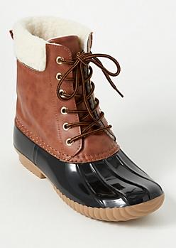 Black Shearline Trim Duck Boots