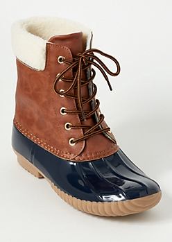 Navy Shearline Trim Duck Boots