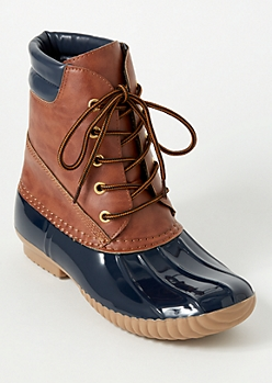 Navy Lace Up Cushioned Duck Boots
