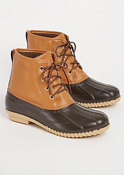 Brown Faux Leather Duck Boots