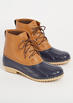 Navy Faux Leather Duck Boots