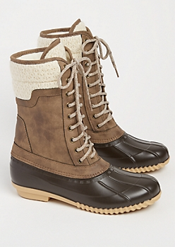 Taupe Knit Cuff Duck Boots