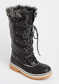 Black Faux Fur Trim Duck Boots