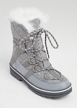 Gray Quilted Faux Fur Lined Snow Boots