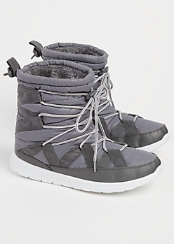 Gray Strapped Faux Fur Lined Snow Boots