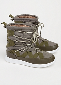 Olive Strapped Faux Fur Lined Snow Boots