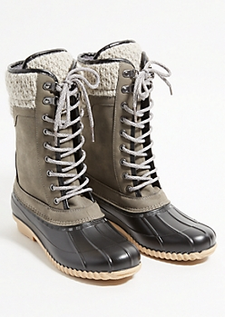 Gray Cable Knit Rubber Toe Duck Boots