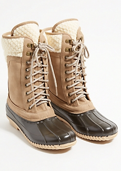 Taupe Cable Knit Rubber Toe Duck Boots