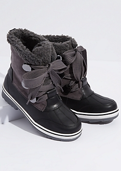 Black Faux Leather Sherpa Lined Duck Boots