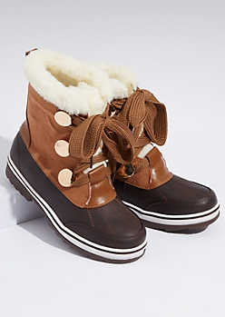 Cognac Faux Leather Sherpa Lined Duck Boots