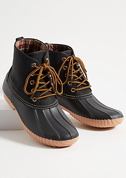 Black Faux Suede Plaid Print Interior Duck Boots