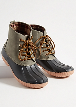 Gray Faux Suede Rubber Toe Duck Boots