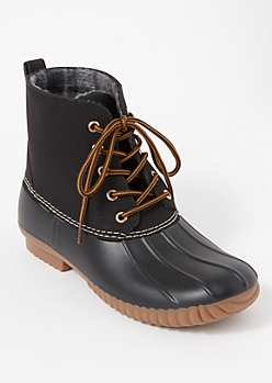 Black Fleece Lined Duck Boots