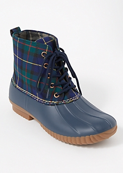 Navy Plaid Print Fleece Lined Duck Boots