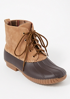 Tan Fleece Lined Duck Boots