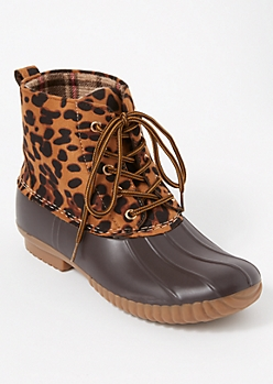 Cheetah Print Fleece Lined Duck Boots