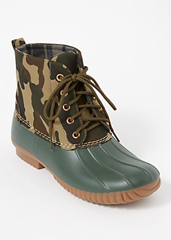 Camo Print Fleece Lined Duck Boots