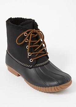 Black Sherpa Lined Duck Boots