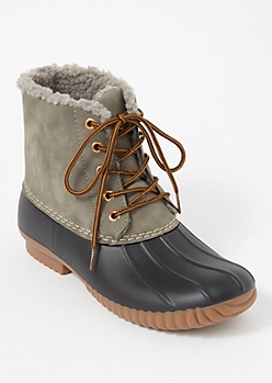 Gray Sherpa Lined Duck Boots
