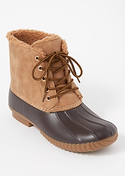 Tan Sherpa Lined Duck Boots