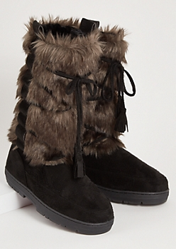 Black Tied Allover Faux Fur Tall Boots