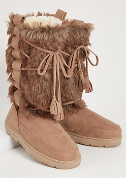 Taupe Tied Allover Faux Fur Tall Boots