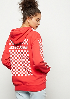 Dickies Red Checkered Print Hoodie