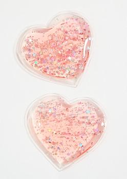 Pink Heart Glitter Gel Eye Masks