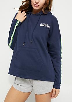 Seattle Seahawks Logo Striped Sleeve Fleece Hoodie