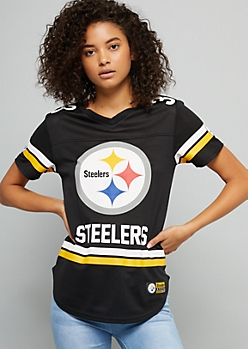 NFL Pittsburgh Steelers Black Mesh Varsity Striped Jersey