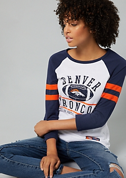 White Denver Broncos Varsity Striped Tee