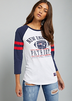 NFL New England Patriots White Varsity Striped Tee